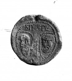 Seal of pope honorius iii; HEADS OF SS. PETER AND PAUL/INSCRIPTIONS