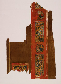 Coptic Textile Panel with Bust of a king, Dancers, & Horsemen