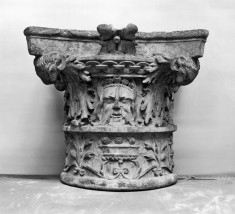 Capital with Four Masks and Acanthus Leaves