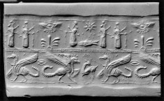 Cylinder Seal with Griffins, Humans and a Winged Disk