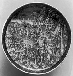 Footed Dish with Moses Destroying the Tablets of the Law