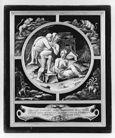 Medallion with Hercules and Antaeus