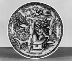 One of a Pair of Covered Footed Bowls with Abraham and Lot