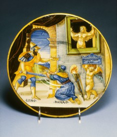 Plate with Hypermnestra Watching Lynceus Take Her Father's Crown