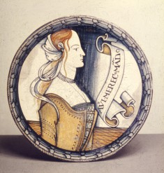 Dish with Female Bust and Inscription