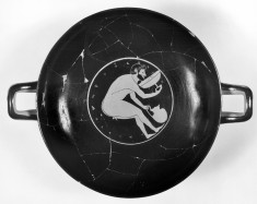 Kylix Depicting Men Bending Drinking from Kylix