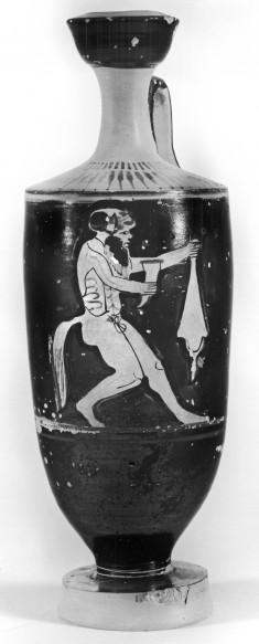 Shoulder Lekythos with Satyr and Wine Skin