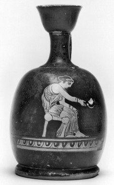 Squat Lekythos Depicting a Seated Woman
