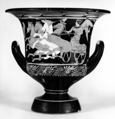 Krater with Nike Driving Quadriga and Three Men Standing