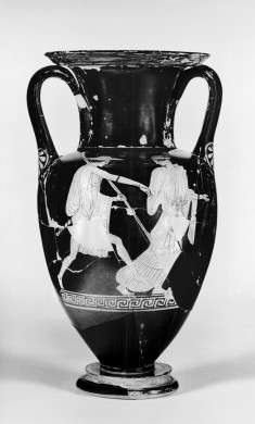 Amphora Depicting a Youth with Petasos and Woman and an Athlete