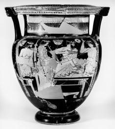 Column Krater Depicting Symposiasts and a Satyr Dancing with Youths