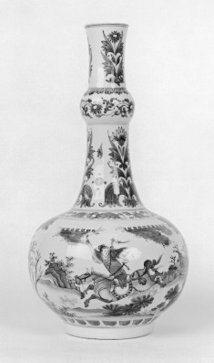 Blue and White Bottle with Scenes from a Novel