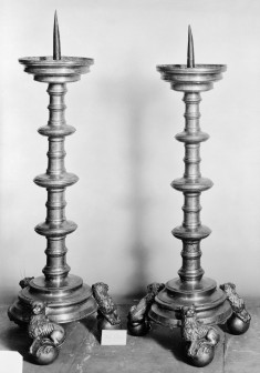 Pair of Candlesticks with Lion Feet