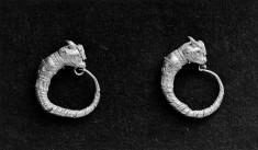 Pair of Hoop Earrings with Bull Heads