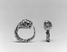 Pair of Hoop Earrings with Lion's Head