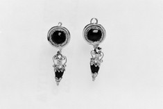 Pair of Disk-and-Amphora Pendant Earrings