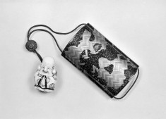 Inro with Crickets Among Basketwork Fragments, and Netsuke
