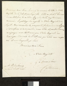 Letter from Catherine the Great to Frederick William III