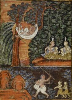 Vessantara Jataka, Chapter 11: Jujaka Treats Jali and Kanha Poorly; While Jujaka Sleeps the Children are Cared For