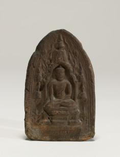 Votive tablet; Showing Sakyasima Statue at Bodhgaya