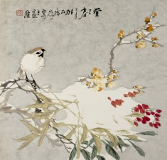 Bird on a Snow-Covered Flowering Apricot