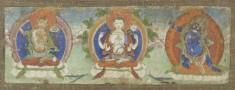 Manuscript Leaf with Three Buddhist Dieties