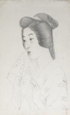 手拭持てる女 (Sketch of Woman Holding a Towel)
