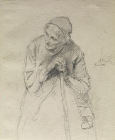 Old Woman Leaning on a Stick