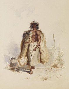 Peasant with Fur Coat Beside Fire