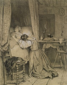 Woman Praying at a Deathbed
