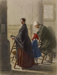 Man, Woman, and Girl at Prayer in Church