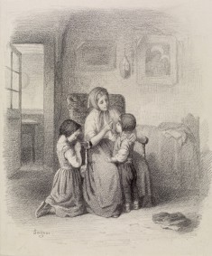 Interior with Woman Teaching Two Children