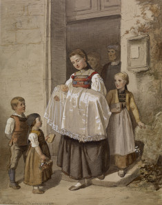 Peasant Girl Holding Baby in Christening