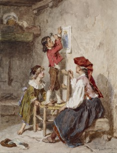 Interior with Italian Woman and Children