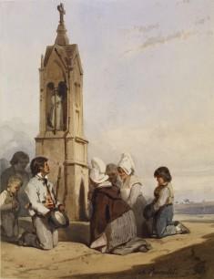 Peasants Kneeling Before Shrine