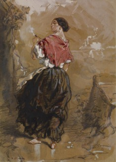 Peasant Girl Smoking