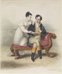 A Couple Seated on a Sofa