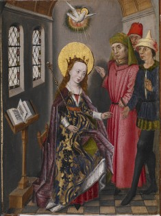Part of an Altarpiece with Three Scenes from the Life of Saint Catherine