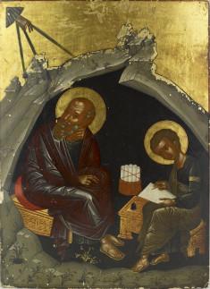Saint John the Theologian dictates his Gospel to Prochoros