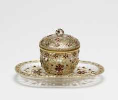 Container and Tray with Floral Pattern