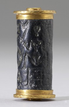 Cylinder Seal with Nude Goddesses and a Goat