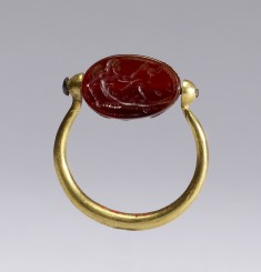 Scarab with Reclining Herakles Set in a Swivel Ring