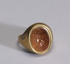 Intaglio with the Head of Herakles Set in a Ring