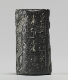 Cylinder Seal with an Animal Contest Scene and an Inscription