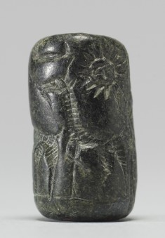 Cylinder Seal with a Figure, Animals, and an Inscription