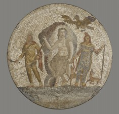 Mosaic Medallion with Ganymede and Zeus