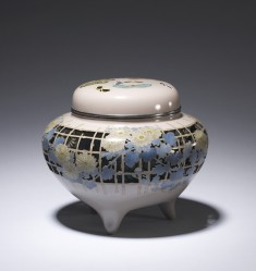 Incense Burner with a Trellis and Chrysanthemums