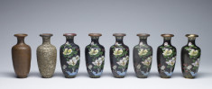 Set of Eight Enamel Vases Depicting the Stages of Cloisonné Enamel in a Fitted Box