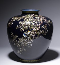 Vase with Flowering Cherry and Birds