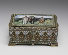 Casket with miniature: The Three Bogatyrs